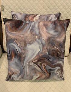 "2pc Set Abstract Brown Blue & Gray Throw Pillows 18""x 18"" Couch Decor Pillows"