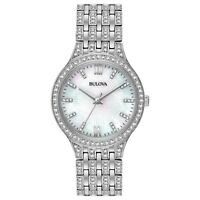 Bulova Women's Quartz Swarovski Crystals Mother of Pearl Dial 32mm Watch 96L242