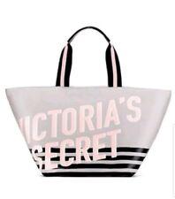 Victoria's Secret Weekender Tote Pink Logo Print Grey Canvas Bag 2018 New