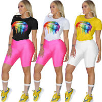 NEW Women Colorful Lips Print Short Sleeve Casual Summer Clubwear T-Shirts Tops