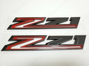 2pcs 2019-2021 Chevy Silverado Z71 Emblem OEM Fender Badge Black Red 84632695