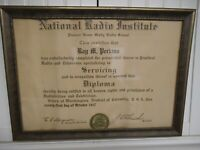 National Radio Institute, NRI, 1947 Diploma, Signed, JE Smith, Rare