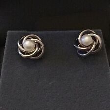 Tuscany Silver Pearl  Knot Earrings BNWT