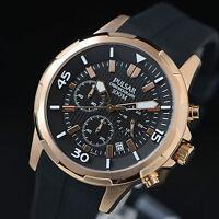 Pulsar Chronograph Mens Watch Rose Gold Case Rubber Strap 100M PT3716 UK Seller