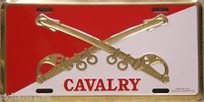 Aluminum Military License Plate Army Cavalry Crossed Swords NEW