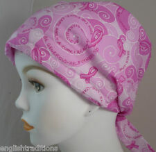 Pink Ribbon Breast Cancer Awareness Hat Chemo Cap Scarf Turban hairloss Headwrap