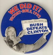 Dewey Defeats Truman Bill Clinton Clever Spoof Button