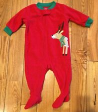 NEW Boys CARTERS Red Soft Fleece Reindeer Christmas Footed Pajamas Size 6M