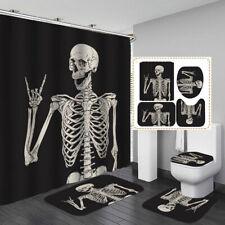 Skeleton Skull Black Shower Curtain Bath Mat Toilet Cover Rug Bathroom Decor