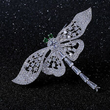 Vintage Micro Pave & Baguette Cut CZ Big Wing Green Eyes Dragonfly Brooch Silver