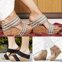 Womens Slip On Wedge Sandals Med Heels Platform Block Shoes Peep Toe Mules Party