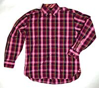 Tommy Jeans Mens L Pink Purple Yellow Plaid Long Sleeve Button Up Down Shirt