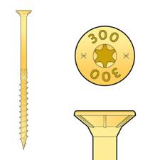 Holzbauschrauben, Spanplatten Konstruktionsschrauben,Senkkopf Torx- gelb 3,0-6,0