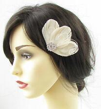 Ivory Cream Bleached Peacock Feather Hair Clip Fascinator Silver Bridal Vtg 684