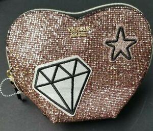 VICTORIAS SECRET PINK GLITTER SEQUIN HEART PATCH COSMETIC BAG MAKEUP CASE