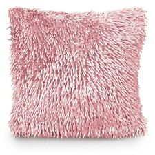 """Luxury Shaggy Chenille Cushion Cover 43x43cm 17x17"""" Seat Pad Cover Blush Pink"""