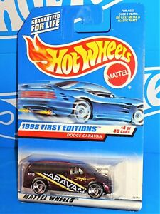 Hot Wheels 1998 First Editions #633 Dodge Caravan Mtflk Burgundy w/ SBs