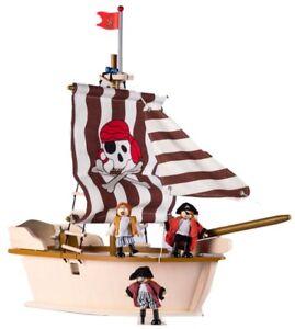 Holz-Piratenschiff 29-tlg., Schiff, Biegepuppen, Komplettset