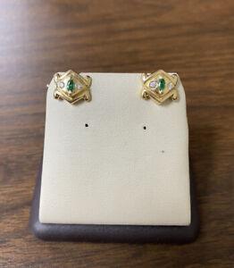 Beautiful Vintage 14K Yellow Gold 585 w/ Natural Diamonds & Emerald Cufflinks