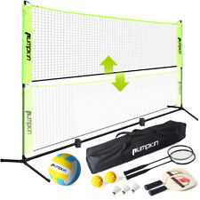 17 Feet Portable Badminton Volleyball Tennis Net Set with Stand/Frame Carry Bag