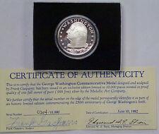 {BJSTAMPS} GEORGE Washington .999 SILVER Proof Medal Medallic Art Co. LE Box/COA