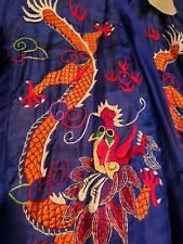 Vintage 1945 Chinese Silk Golden Dragon Robe Front & Back embroidery bought Wwii