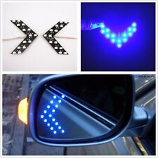 2 Pcs Arrow Indicator 14SMD LED Car Rearview Side Mirror Turn Signal Light Blue