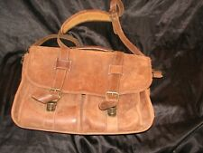 Vtg.SCHLESINGER Brown Leather Shoulder Saddle Bag