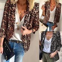 ZANZEA Women Casual Leopard Print Blazer Coats Outwear Lapel 3/4 Sleeve Cardigan