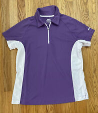 Slazenger Womens sz L Purple Shirt Golf Athletic 1/4 Zip Short Sleeves Collar Eu