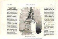 Statue Philippe de Girard ingénieur-mécanicien machine filer le Lin GRAVURE 1882