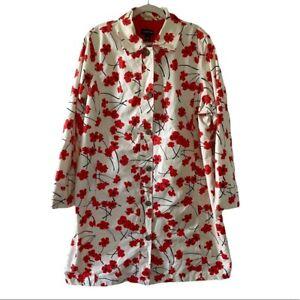 Lands End Jacket Raincoat Plus 2X Lined Pockets Buttons Plus Light Poppy Red