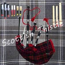 Scottish Great Highland Bagpipes Silver Amounts MacDonald Tartan with Tutor Book