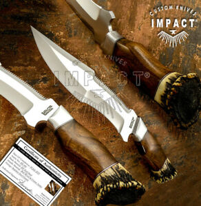 IMPACT CUTLERY RARE CUSTOM D2 COMBAT FIGHTER BOWIE KNIFE CROWN ANTLER
