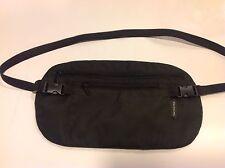 Genuine Samsonite Double Pocket Money Hidden Security Passport Belt Bag - Black