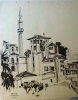 LANGLOIS-BELLOT  ECOLE PARIS - DESSIN TURQUIE ISTAMBUL HOTEL DU PARC 1950 -1