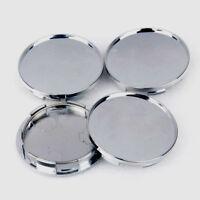 68mm Universal Chrome Silver Car Wheel Center Hub Caps Covers Set No Logo 4Pcs