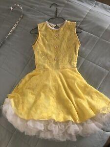 Dance Costume Yellow Lace Lyrical Sunshine Dress Child Large 8/10
