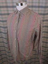 Faconnable Men's Striped Shirt - Brown/Red Long Sleeve Cotton/Poly Sz Lg - B711b
