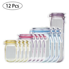 12pcs Reusable Bottle Jar Mason Fresh Food Storage Bag Snack Zipper Pouch US