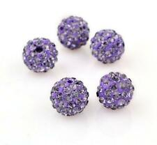 20pcs 10mm New Lotus Purple Ball Rhinestones Loose Spacer Glass Beads Jewelry