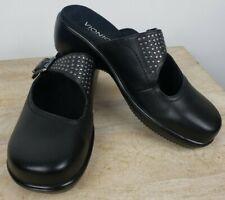 Vionic Black Leather Elation Fallon Clogs Women's 8 US Orthaheel Mary Jane Shoes