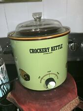 VINTAGE CROCKERY KETTLE STONEWARE AVOCADO GREEN 3 1/2 QUART CROCKPOT