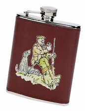 """A hard day's shooting"" pheasant game hip flask leather cover & funnel (AC12)"