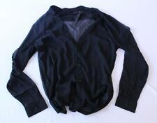 Asos Men's Sheer Textured Shirt With Notch Neck KW6 Black Medium NWT
