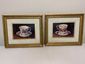 Barbara Mock Teacup Vintage Art Signed Frame Set of Two