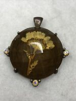 Vintage Dried Flowers Pendant Lucite Paste Silver Plated Copper Frame 1940s Old