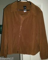 E Dot NWT Womens Brown Zipper Shirt Top Blouse OR Lightweight Jacket Size 26 P
