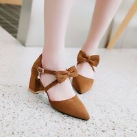 Women Pointed Toe High Heel Stud Pumps Ankle Strap Spring Bowknot Shoes Size 8
