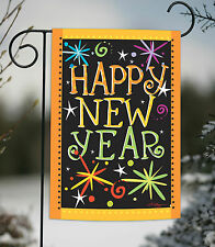 Toland Happy New Year 12.5 x 18 Colorful Fireworks Celebrate Garden Flag